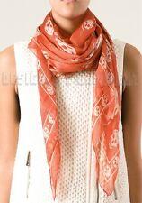 "ALEXANDER MCQUEEN Orange with Ivory SKULLS silk Chiffon 41x47"" scarf NWT Authent"