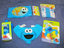 New Sesame Street Baby Care Lot Bib Case Cup Rattle Washcloths Cookie Monster