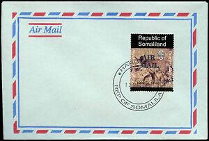 Somaliland 2000 Bat Eareard Fox Air Mail Blue Overprint Cover #C33839