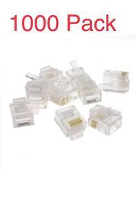1000 x RJ11/RJ12 6P6C Crimp Plugs Modular Connectors Broadband ADSL Telephone