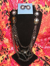 SIMPLY VERA WANG NWT $62 womens long necklace earrings set pewter clear stones