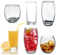 6pc Tall Wide Long Tumbler Glass Set Curved Clear Glassware Juice Whiskey Drink