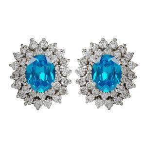 3.60Ct Natural African Blue Topaz IGI Certified Diamond Studs In 14KT White Gold