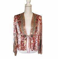 Sandy Starkman Silk Mixed Media Textile Bohemian Whimsical Jacket Blazer PL