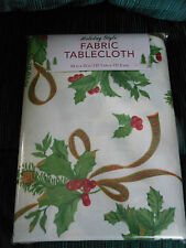 "HOLIDAY STYLE FABRIC TABLECLOTH  54"" X 70""    ""BEAUTIFUL""  NEW IN PKG."