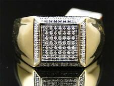 Mens Yellow Gold Finish White Diamond Engagement Square Designer Band Pinky Ring