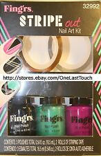 FING'RS* Nail STRIPE OUT Polish+Stripping Tape BLACK+GREEN+ Heart2Art KIT #32992