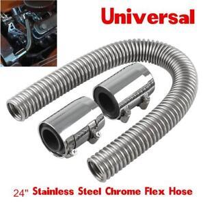 "Car 24""Stainless Steel Chrome Radiator Flex Coolant Hose Kit With Caps/Radiator"