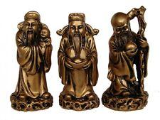 Bronze Color Three Gods - Feng Shui Three Deitie Fuk Luk Sau Statue