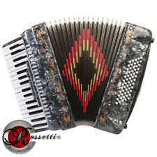 NEW ROSSETTI PIANO ACCORDION 72 BASS 34 KEYS 5 SWITCHES GREY R3472-GY + CASE