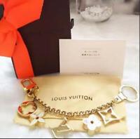 Auth Louis Vuitton Chain Fleur de Monogram Keyring Bag charm M65111 Used F/S
