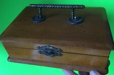 ANTIQUE WOODEN DRESSER (?) BOX WITH METAL HANDLE
