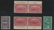 USA 1898 Sc  Sc 286 mnh 2  c stamp pairs with plate # and Sc 323 & 325