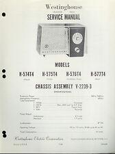 Orig Factory Westinghouse H-574/575/576/577-T4 V-2239-3 AM Radio Service Manual