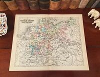 Original 1892 Antique Map Germany GERMAN EMPIRE Berlin Hamburg Bavaria Munich