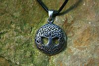 Keltischer Anhänger Lebensbaum Yggdrasil Silber+Lederband Sterlingsilber Esche