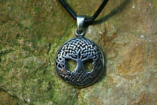 Celtic Pendant Life Tree Yggdrasil Silver + Leather Band Sterling Silver Ash