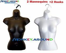 Mannequin 2 Forms +2 Hanger,Female White Black Torso Body Display Clothing Dress