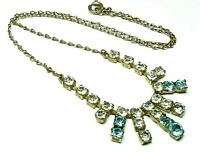 Vintage 1950s turquoise aqua and clear glass rhinestone gold tone necklace