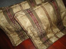 CROSCILL TOWNHOUSE BURGUNDY GREEN GOLD (PAIR) KING PILLOW SHAMS 21 X 37