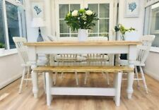 Beautiful Pine Painted Farmhouse Table Bench and Chairs