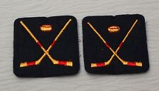 Vintage Embroidered Felt Hockey Patch Crossed Hockey Sticks 2 Patches