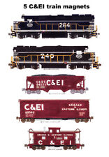 Chicago & Eastern Illinois Locomotives & train 5 magnets by Andy Fletcher