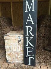 """Large Rustic Wood Sign - """"Market"""" -Fixer Upper, Primitive Black"""