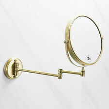 "Brushed Gold Round 8"" Wall Vanity Cosmetic Mirror Double-sided 3X Magnifying"