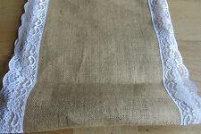 Lace Edged Burlap Table Runner/Banner - 35cm Wide - £2.99 per Metre - Free P&P