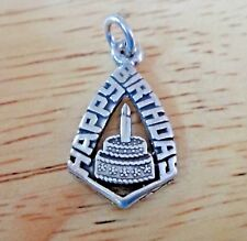 Sterling Silver 22x13mm says Happy Birthday with Cake and Candle Charm