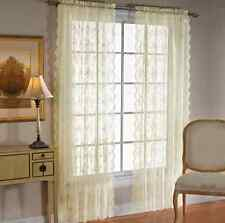 """PETITE FLEUR Ivory Lace 63"""" Long Curtain Panel Pair by Saturday Knight"""