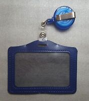 ID CARD HOLDER BADGE REEL OYSTER SECURITY RETRACTABLE PHOTO IDENTITY PASS BLUE