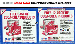 lot 2 FREE Coca Cola  coupons case & carton 1992 Mobil Gas Station 29 years old