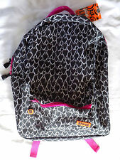 NWT NEW Girl's Black Heart Patterned Backpack by Ill Parcel