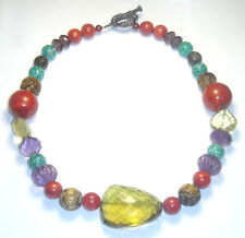 GEMSTONE Lg CITRINE/Coral/Fluted Amethyst/Carved Tiger's Eye BEAD NECKLACE 925