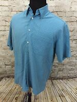 Bugatchi Uomo Button Up Short Sleeve Casual Shirt Mens M Blue Green Plaid
