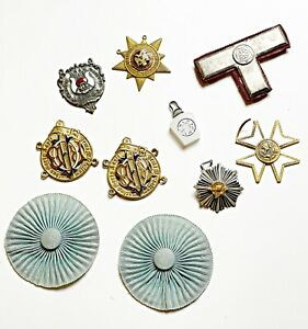 Vintage lot of masonic templar lodge parts and charms