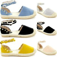 Ladies Womens Flat Heel Stud Ankle Strap Summer Espadrilles Sandals New Size 3-8