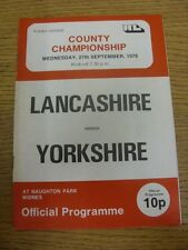 27/09/1978 Rugby League Programme: Lancashire v Yorkshire [At Widnes] . Item app