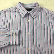 Banana Republic Dress Shirt Men's XL 17 35/36 Non Iron Slim Fit Purple Blue Pink