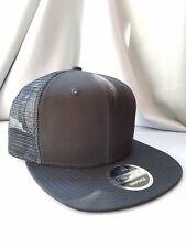 New Era 9Fifty Flat Snapback Trucker Hat Cap Blank { BLACK/BLACK } NE403-Trucker