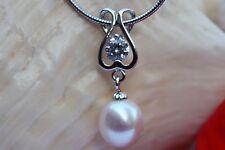 P049 Zucht Süßwasser Perlen Schmuck Anhänger ohne Halskette Kette 925 Silber neu