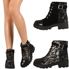 New Womens Sequin Round Toe Lace Up Combat Military Ankle Booties Boots Lug Sole