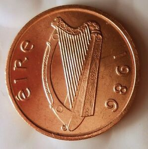 1986 IRELAND PENCE - AU/UNC - From Irish Mint Roll - BIN #EEE