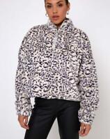 MOTEL ROCKS Nero Fluffy Ring Pull Jacket in Snow Leopard    (MR101.1)