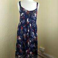 M&S MARKS & SPENCER PER UNA BLUE FLORAL CHIFFON DRESS UK 8 VGC SUMMER