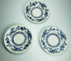 "Enoch Wedgwood Blue Heritage Onion Saucers SET of 3 ENGLAND Tea Coffee 5 1/2"""