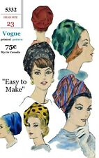 "Vogue #5332 TURBAN Hat Cap Fabric Sewing Pattern Chemo Cancer Alopecia 23"" Easy"