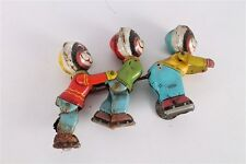 Vintage Old Film Lemez Champ on Ice Skater Eskimo Bear Trio Wind Up Tin Toy.